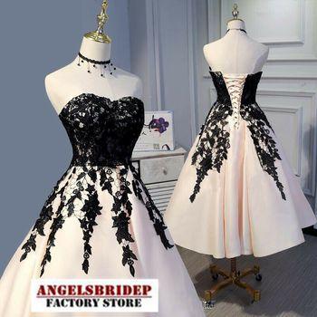 Charming Sweetheart Satin Lace Vestidos De Fiesta De Noche 2021 Formal Tea-Length Simple Design Cheap Abiti Da sera Vestidos 1
