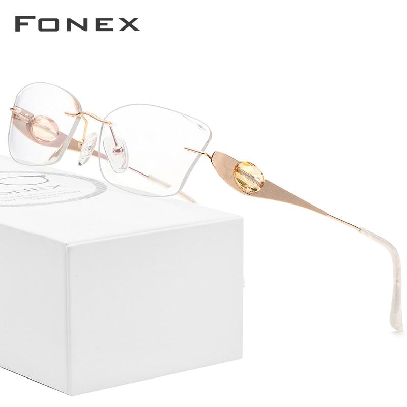FONEX Wire Titanium Rimless Glasses Women Luxury Brand Designer High Quality Optical Diamond Prescription Eyeglasses Frame