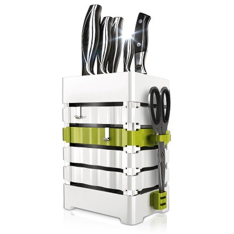 Knofe Block Kitchen Knife Holder Block PP Plaatic Universal Scissors Knife Stand Storage Rack Organizer White Utensil Accessorie