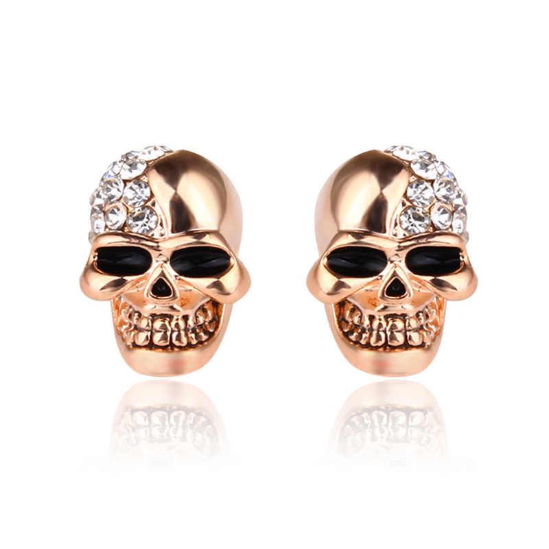 2019 ใหม่ Punk รอบ SHINY Gold Silver Skull คลิปต่างหูผู้ชายและผู้หญิงออกแบบเครื่องประดับของขวัญ