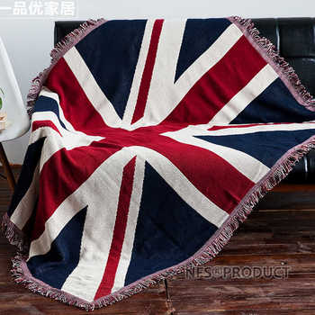 130x180cm Sofa Blanket Cotton Fabric UK & USA Flag Design Knitted Bed Spread Couch Covering Quilt Throws With Tassels 1