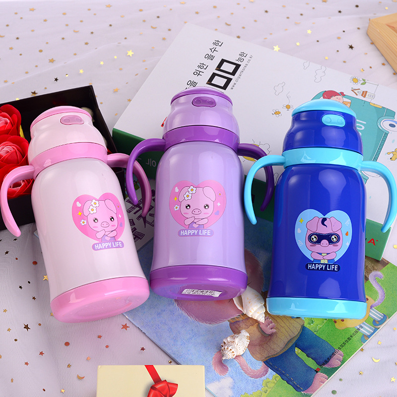 Hot Sales New Style 304 Stainless Steel Insulated Cup Creative Cartoon Pig Students Portable Children Pot Shatter-resistant Dual