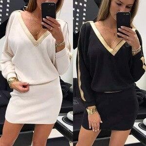 Женское облегающее платье с запахом, платье черного или белого цвета с длинным рукавом, V-образным вырезом и запахом на бедрах, Осень-зима