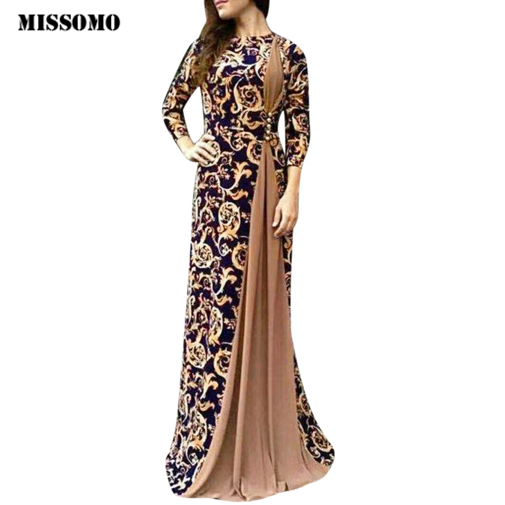 MISSOMO Maxi Dress Women Dubai Arabian Floral Print Long Dress Muslim Dress Islamic Vestidos Long Dress Plus Size Women Dresses
