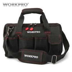 WORKPRO مقاوم للماء أداة حقيبة سفر حقائب الرجال حقيبة كروسبودي حقيبة أدوات سعة كبيرة شحن مجاني 4 حجم (12 14 16 18 بوصة)