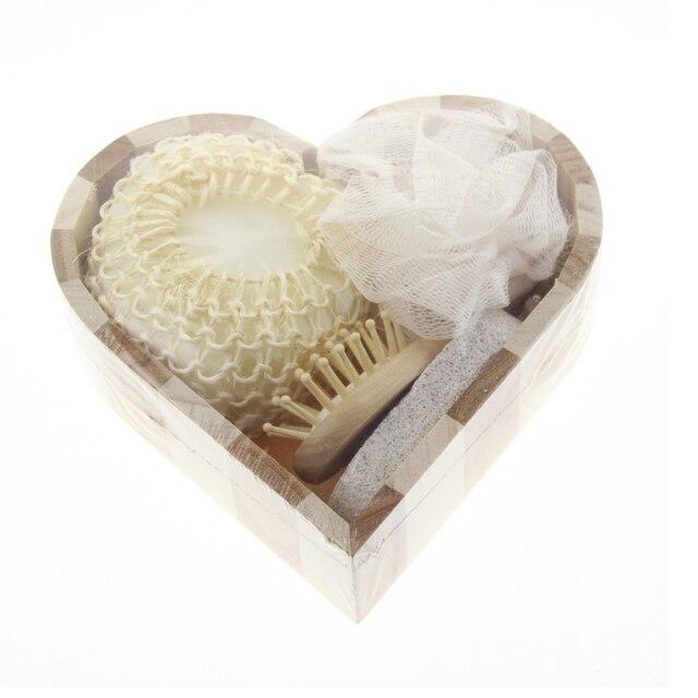 4pcs/set Women Man Girl Kid Baby Bath Show Spa Set Gift Include Bath Tool Loofah Sponge Hair Brush Pumice Stone Foot File 1