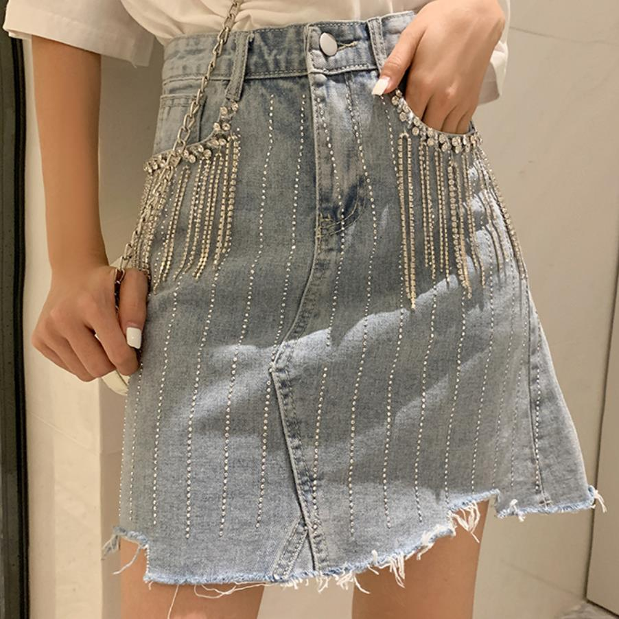 Plus Size 5XL!Summer Fashion Denim Skirt Womne High Waist Diamond Tassel A-line Mini Jeans Skirt
