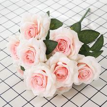 Kwiaty papierowe kwiaty sztuczne kwiaty suszone kwiaty kwiat z organzy sztuczne drzewa róże sztuczne liście tanie tanio Róża Bukiet kwiatów Ślub Jedwabiu F016 50 cm 9 cm 1 pcs Christmas Home Hotel Party Office Room Garde White red light pink pink deep pink champagne purple yellow green