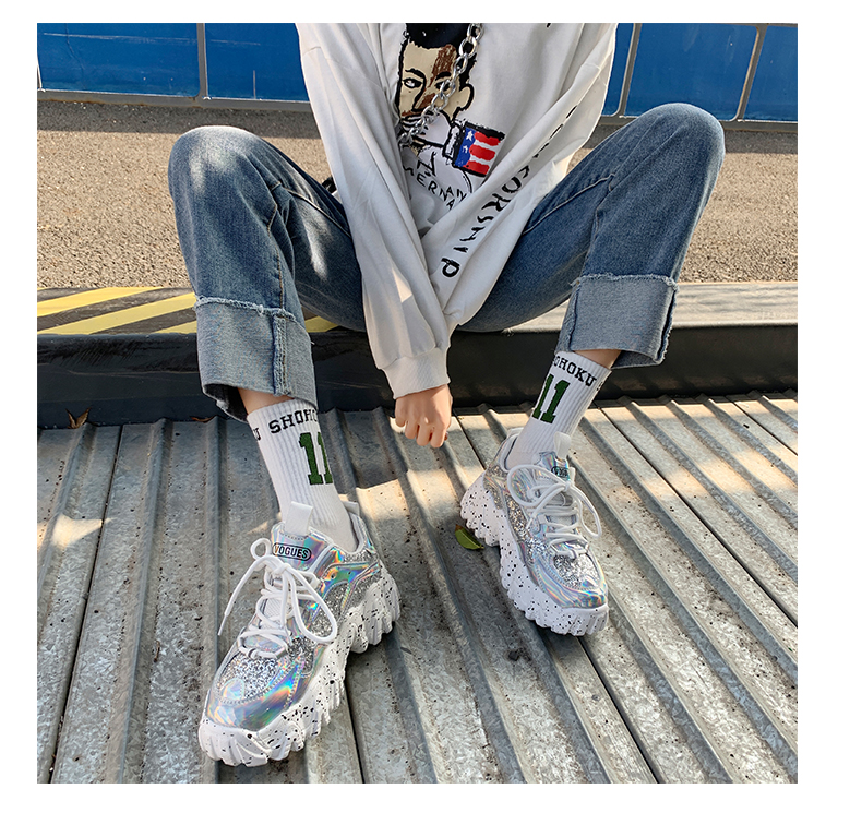 H8245c505c02746b79fbe3a6ad2749bb8y - Sneakers Women Spring Fashion Sequined Cloth Bling Breathable Round Toe Leisure Chunky Women Shoes Tenis Feminino TUINANLE