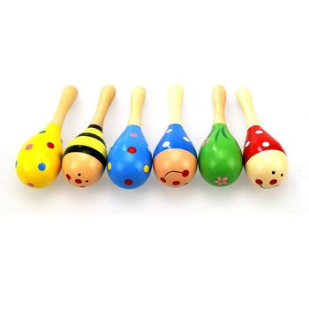 Infant Toddlers Wood Sand Hammer Wooden Maraca Rattles Kids Musical Party Favor Child Baby Shaker Toy Gift Dropship