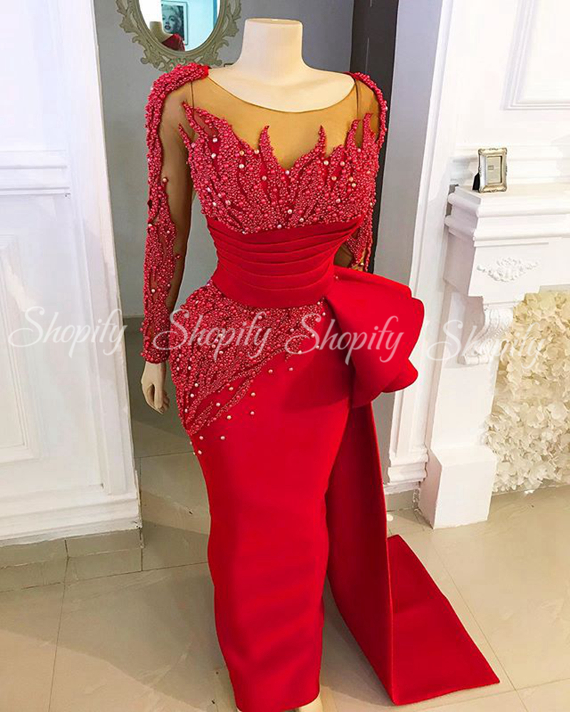 New Arrival Formal Dress Women Elegant Straight Long Sleeve Pearls African Women Red Satin Luxury Evening Dress