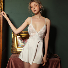 French Lace Ice Silk Sexy Lingerie Women Nightgowns Beautiful Back Suspender Strap Dress Home Clothes Nightdress Young Girl