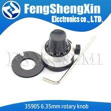 1 pçs/lote 3590s 6.35mm precisão escala botão potenciômetro botão equipado com multi-turn potenciômetro