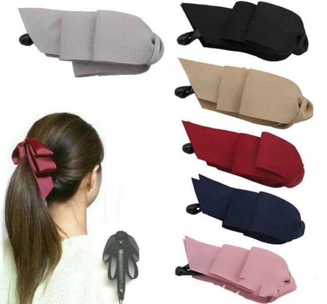 Hot sale ponytail banana clip three-layer bow Kirin   headwear   2019 ladies hair accessories ribbing ribbon hairpin vertical clamp