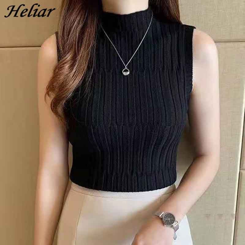 HELIAR Women Black Knitted Tank Tops Female Solid Sleeveless Tees O-Neck Slim Crop Top Female Casual Tank Tops For Women Summer 1