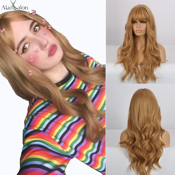 ALAN EATON Long Gloden Honey Blonde Wave Synthetic Hair Wig with Bangs For Black Women High Temperature Fiber Cosplay Wigs - discount item  45% OFF Synthetic Hair