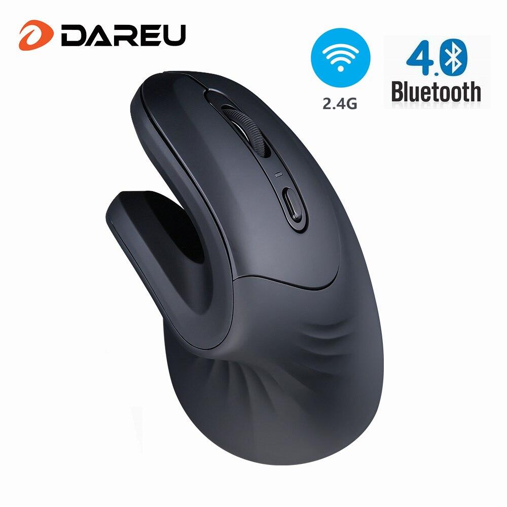 DAREU Magic Bluetooth + USB Двухрежимная Вертикальная беспроводная мышь эргономичная игровая мышь для кожи с 3D колесом прокрутки для 2 устройств