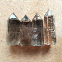 4pcs natural smoky quartz tower point reiki chakra healing crystal gemstones fengshui single point