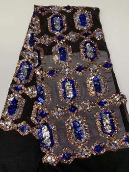 blue black Bridal Lace Sequin Fabric, Organza Lace Newest African Dress, Wedding Material Nigeria Lace  FFR-1119