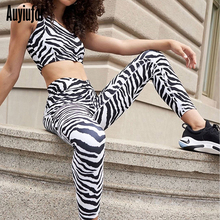 Auyiufar Fitness Active Wear Workout Zebra Print Matching Set Fashion One Shoulder Crop Top and Pants Sexy Femme Sporty