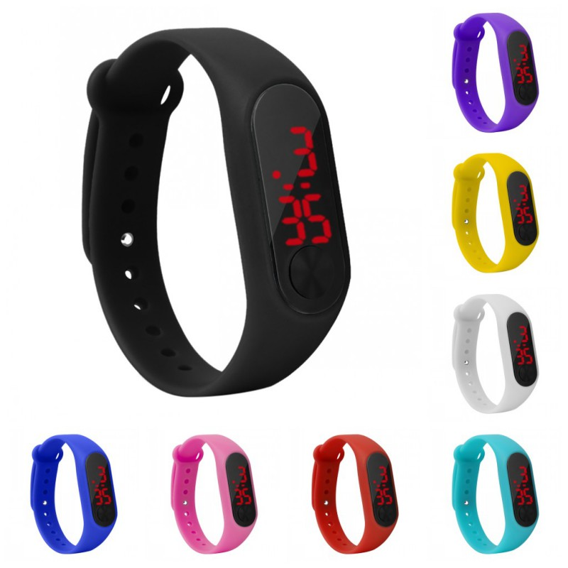 Sports Red LED Digital Bracelet Watch Fashion Men Women Colorful Luminous Outdoor Silicone Watches  Wristwatch Gifts