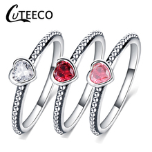 Cuteeco Hot Sale Silver Love Heart Rings For Women Compatible With Original Pan Ring Valentines Day Jewelry Gift