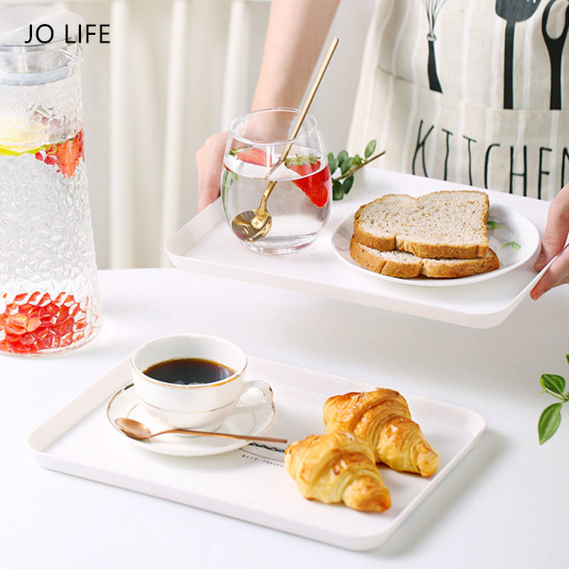 JO LIFE Plastic Dessert Serving Tray Simple Dish Nordic Style Breakfast Plate White Rectangular Cosmetics Storage Tray