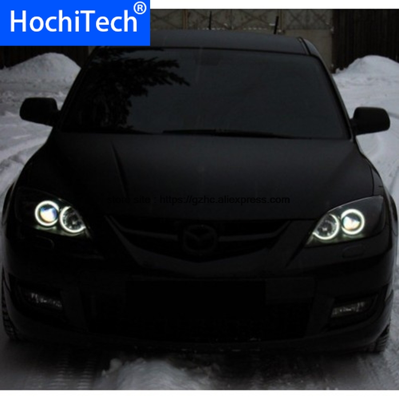 For Mazda 3 <font><b>mazda3</b></font> 2002 2003 2004 2005 2006 <font><b>2007</b></font> Ultra Bright Day Light DRL CCFL Angel Eyes Demon Eyes Kit Warm White Halo Ring image