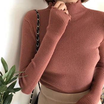 Women Knitwear High Elastic Solid Sexy Knitted Pullovers Fashion Spring Autumn Slim Fit Sweater Warm
