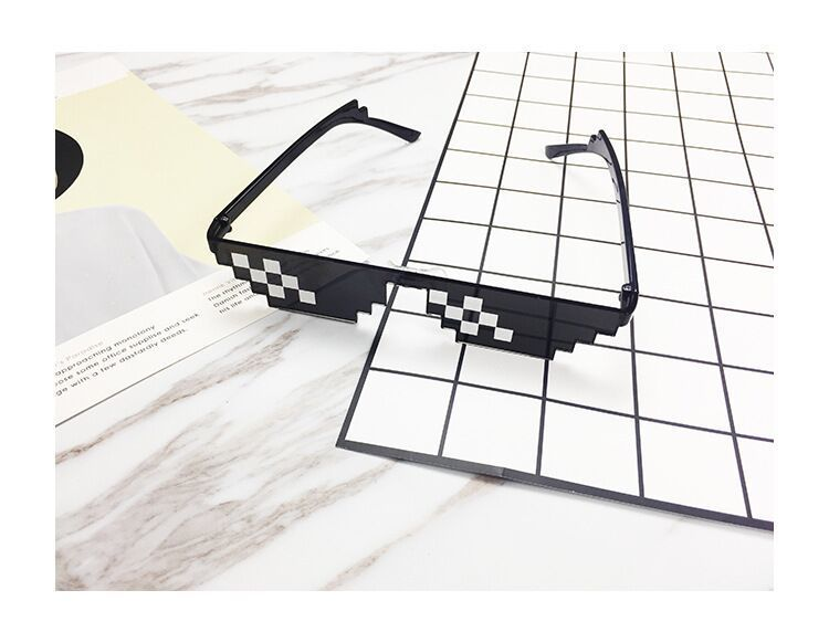 Mosaic Sunglasses Funny Toy Hip Hop Magical Sunglass Trick Toy Thug Life Glasses Deal With It Glasses Pixel Women Men Black