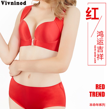 Plus Size China Red Bra Sets Women Have Good Luck Push Up  Lace 75-120 for C D E Cup Sexy Lingerie