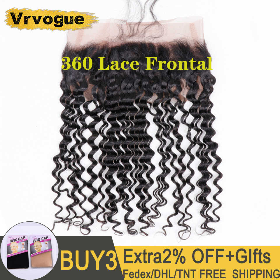 360 Lace Frontal Peruvian Deep Wave Frontal Pre Plucked With Baby Hair Natural Color Remy Human Hair Free Part Vrvogue Hair