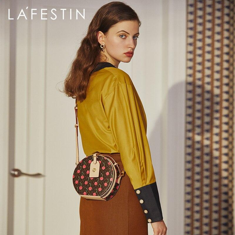 LA FESTIN 2020 New Single Shoulder Messenger Small Round Bag Female Cherry Round Cake Bag Mini Handbag