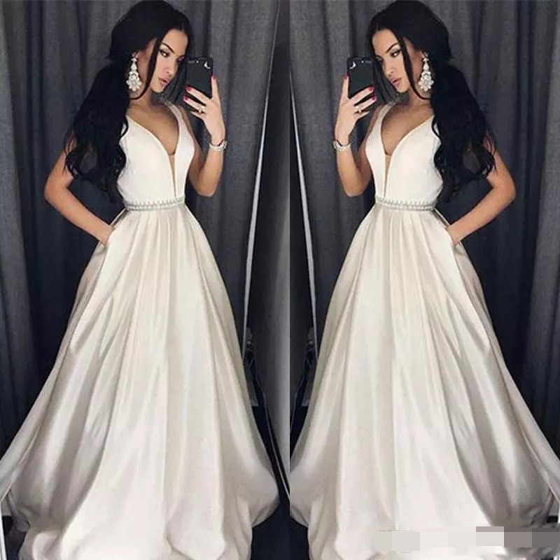 Elegant Plus Prom Dresses 2019 Vestidos De Gala A-Line Floor-length Long Formal Dress Evening Gown Beads Sash Robe De Soiree
