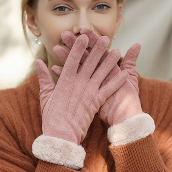 النساء قفازات الشتاء لمس الشاشة 2019 أنثى الجلد المدبوغ فروي دافئ كامل اصبع قفازات سيدة الشتاء في رياضة القيادة النساء قفازات 1