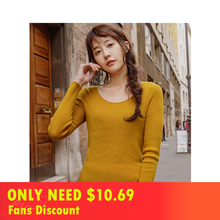 INMAN 2019 New Arrival Round Collar Causal Fitness Long Sleeve Knit Sweater