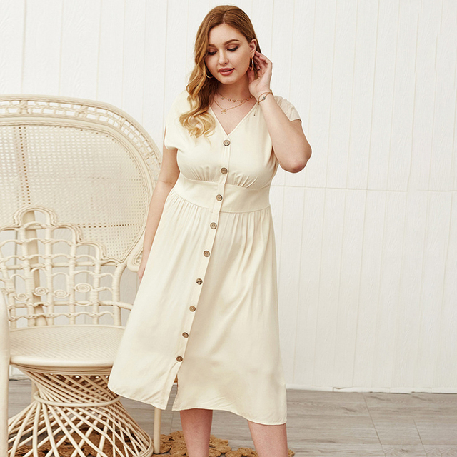 Lovely plus size button down open sleeve dress 2