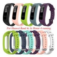 Para huawei banda 4e 3e honor band 4 running substituição relógio pulseira fivelas silicone pulseira de pulso macio esportes ajustável