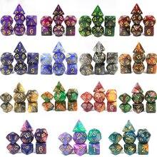 Высокое качество 15 цветов креативный Вселенная Галактика игральные кости набор D4-D20 блестящая пудра удивительный эффект для DnD MTG настольные рпгс игры