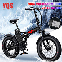 YQS New 500W snow mountain electric bike 20inch 4.0 fat tire ebike beach electric bicycle motorcycle