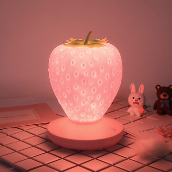 Strawberry Night Light New Style USB Charging Bedroom Ambience Light LED Decorative Table Lamp christmas  silicone night light creative strawberry silicone led night light eye protection touch atmosphere lamp children cartoon usb charging table lamp