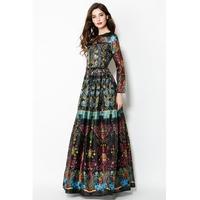 Designer High Quality Vintage Long Sleeve Boho Beach European Style Original Brand Maxi Women Dress Vestidos Party Floral