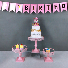 Tobs pink cupcake stands wedding decoration  iron metal cake display stand for dinnerware party baking tool