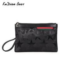 KUDIAN BEAR Men Clutch Bags Leather Handbag Black Fashion Travel Casual Bag Solid Envelope Bag BIX407 PM49