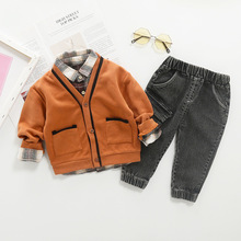 Children Plaid Shirt Long Sleeves Cardigan Coat Boy Autumn New Coats Trousers Sweater Three-piece Suit Warm For kids цены онлайн