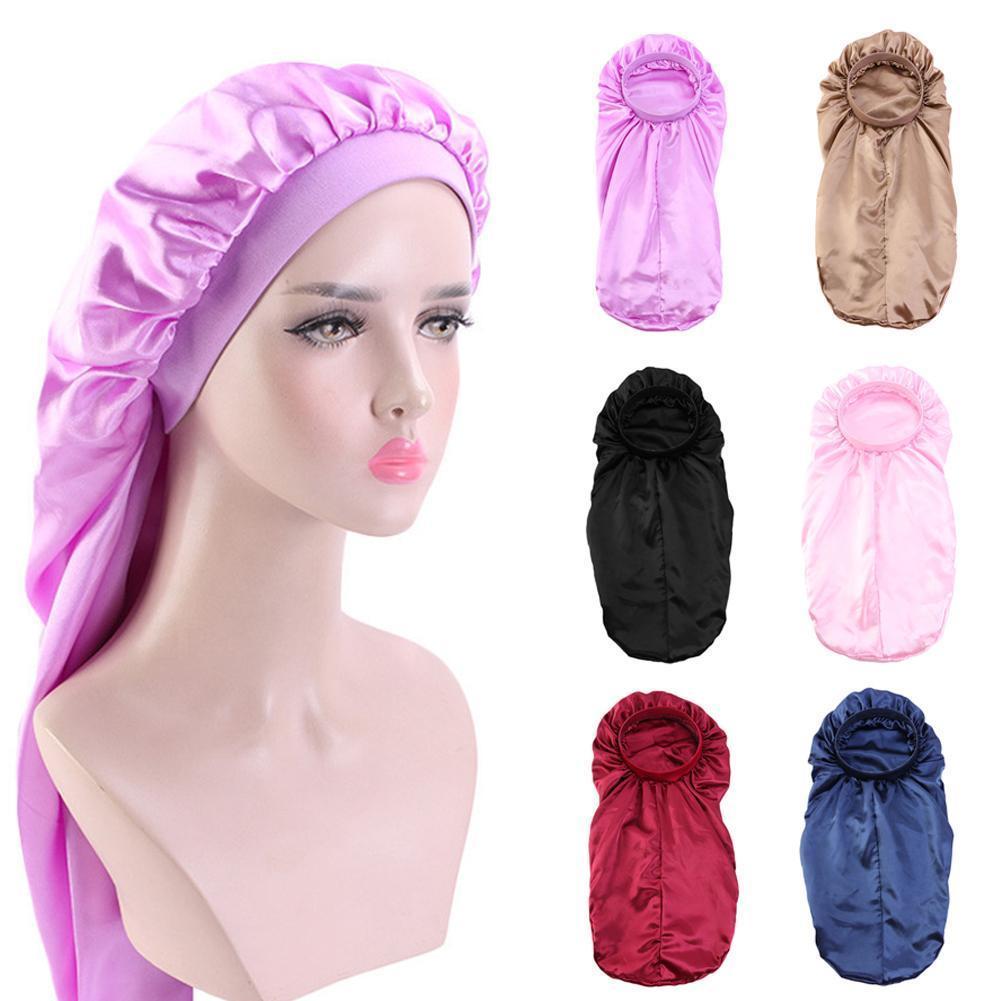 Женская Удлиненная Атласная шапочка для сна с цветными цветами для кудрявых шелковистых головных уборов повязка на косички ночные волосы э...