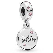 2019 novo 100% 925 prata esterlina para sempre irmãs pendurado charme pingente pulseira original jóias grânulos moda presente feminino