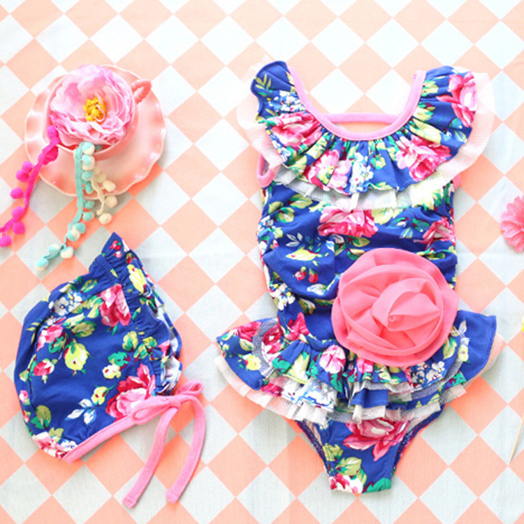 Yong Yi Dynamic Hot Springs KID'S Swimwear Women's Children One-piece Swimming Suit Beach Floral-Print With Swim Cap Girls Swimm