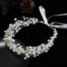 HIMSTORY Handmade Pearls Bridal Headband Tiara Crown Wedding Hair Accessories Charming Multi-layers Headpiece Hairwear Jewelries