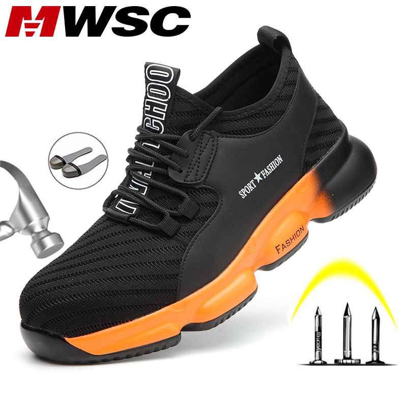 MWSC/Всесезонная Безопасная рабочая обувь для мужчин, Нескользящие рабочие ботинки со стальным носком, неразрушенные ботинки, мужские безопа...